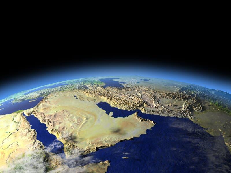 从空间的阿拉伯半岛清早 库存例证