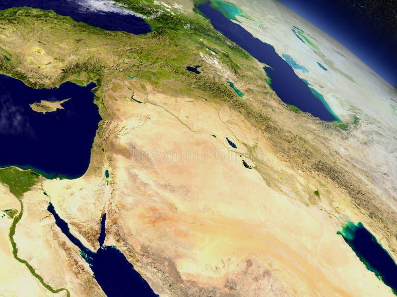 从空间的以色列、黎巴嫩、约旦、叙利亚和伊拉克地区 皇族释放例证