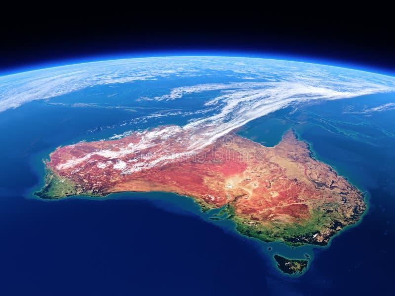 从空间看见的澳大利亚-地球白天 向量例证