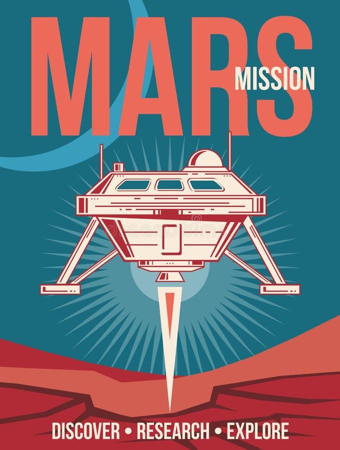空间研究传染媒介海报 登陆对火星葡萄酒背景的太空飞船 向量例证