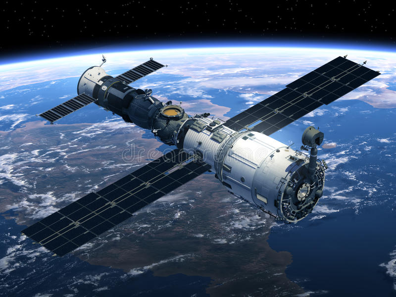 空间站和Spacecraft.3D场面 库存例证