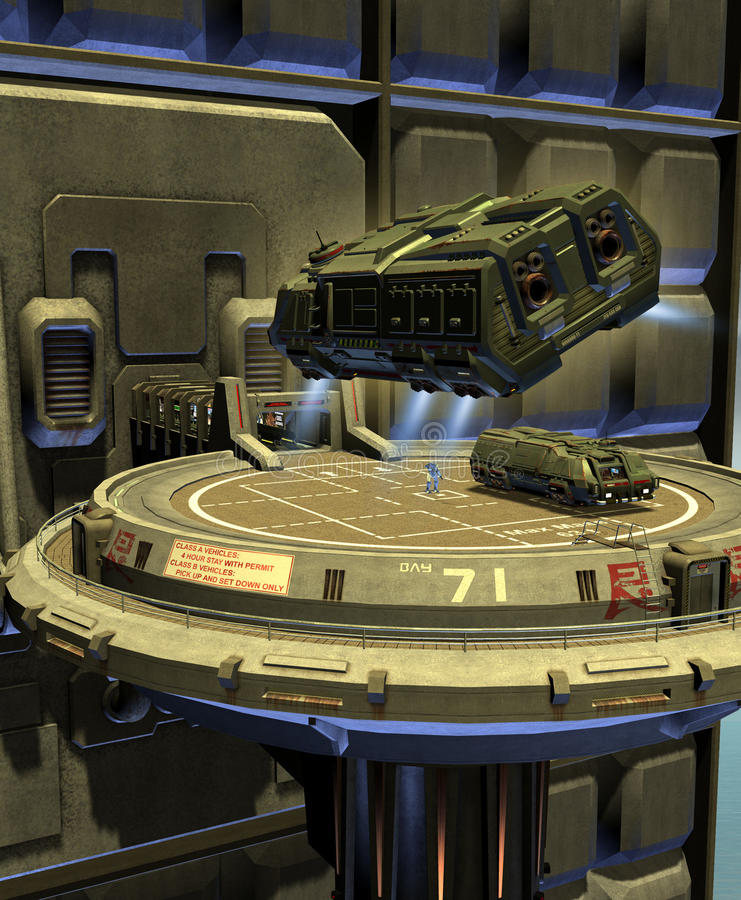 空间站平台的太空飞船土地 皇族释放例证