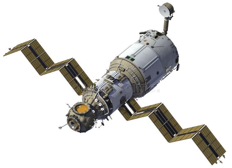 空间站部署太阳电池板 向量例证