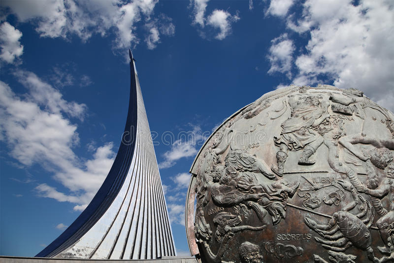 空间纪念碑,莫斯科,俄罗斯的征服者 免版税图库摄影