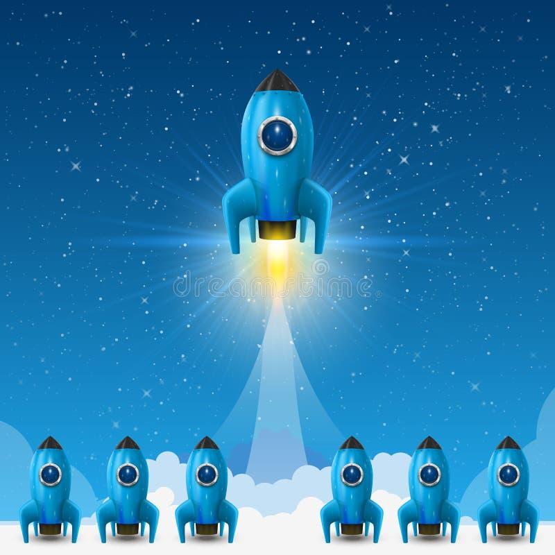 空间领导火箭发射,创造性的想法,传染媒介例证 向量例证