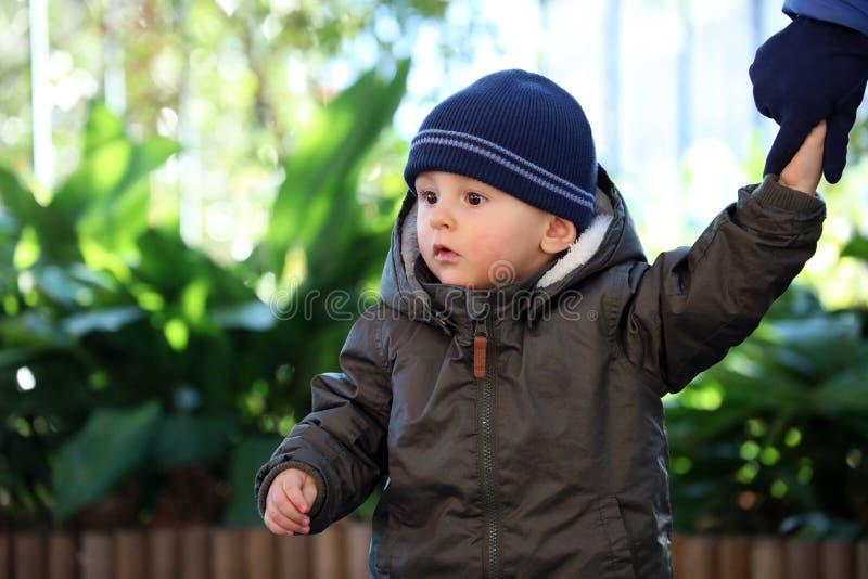 穿一件蓝色编织冬天帽子和绿色冬天附头巾皮外衣的男婴 免版税图库摄影