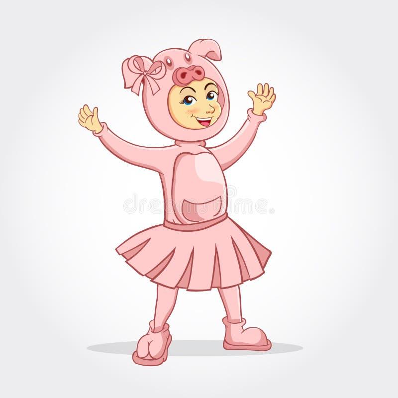 穿一套贪心服装的逗人喜爱的动画片女孩 库存例证