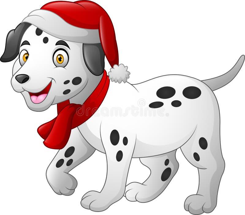 穿一条红色圣诞老人帽子和围巾的达尔马希亚动画片狗 库存例证