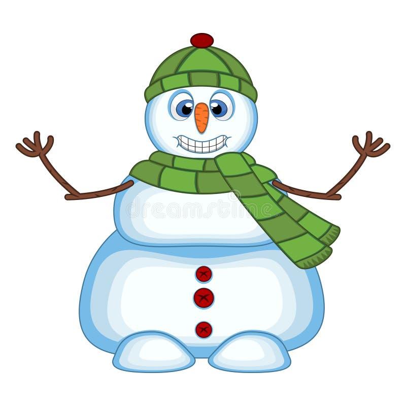 穿一条绿色帽子和绿色围巾的雪人摇他的您的设计传染媒介例证的手 向量例证