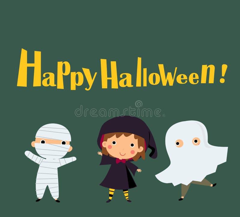 穿万圣夜妖怪服装的逗人喜爱的孩子 向量例证