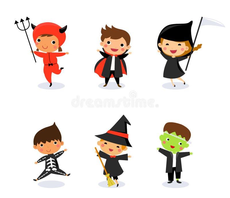 穿万圣夜妖怪服装的逗人喜爱的孩子 库存例证