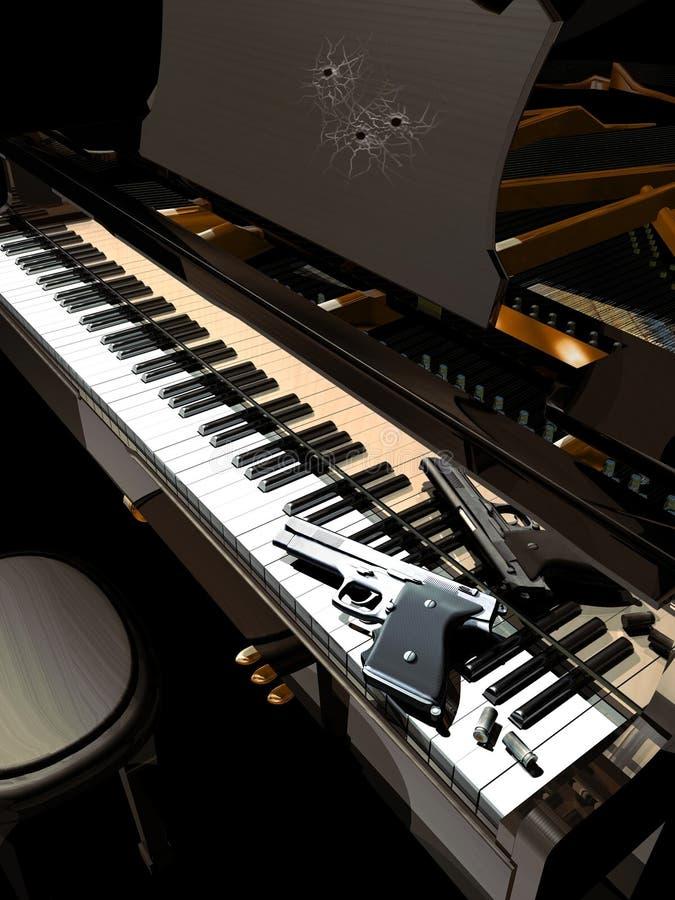 穿上钢琴演奏家射击t 向量例证