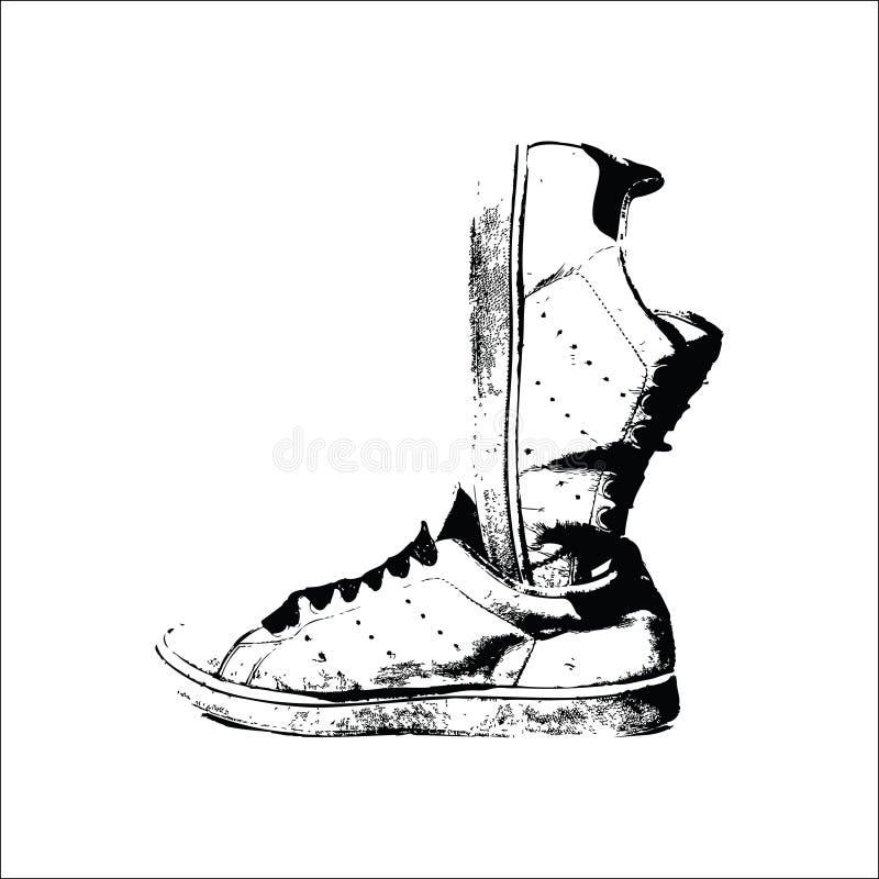 穿上鞋子ilustration传染媒介 向量例证