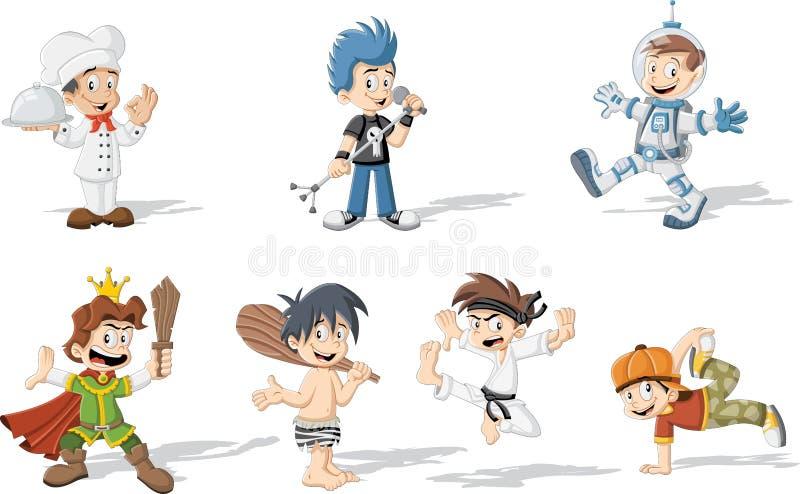 穿不同的服装的动画片男孩 皇族释放例证