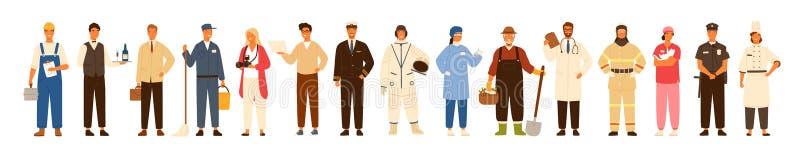 穿专业制服-建筑工人的各种各样的职业的男人和妇女的汇集或行业 向量例证