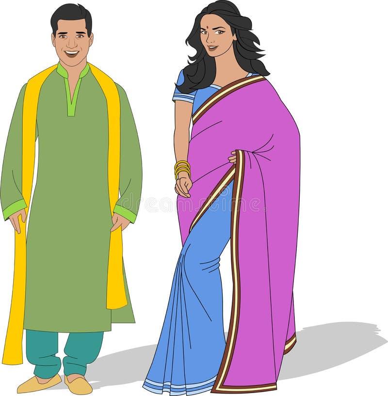 穿传统衣裳的夫妇 皇族释放例证