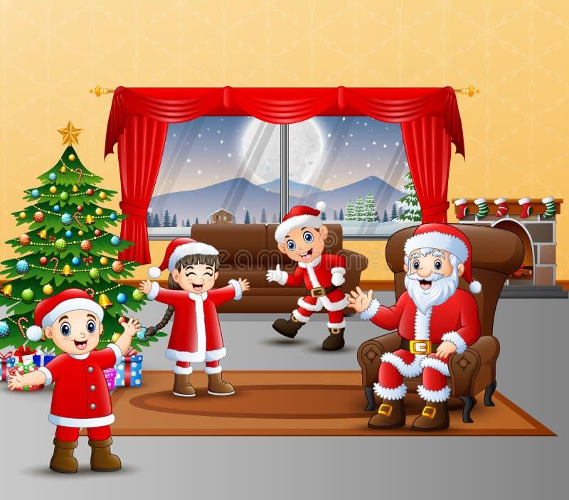 穿圣诞老人服装的幸福家庭在chistmas天 皇族释放例证