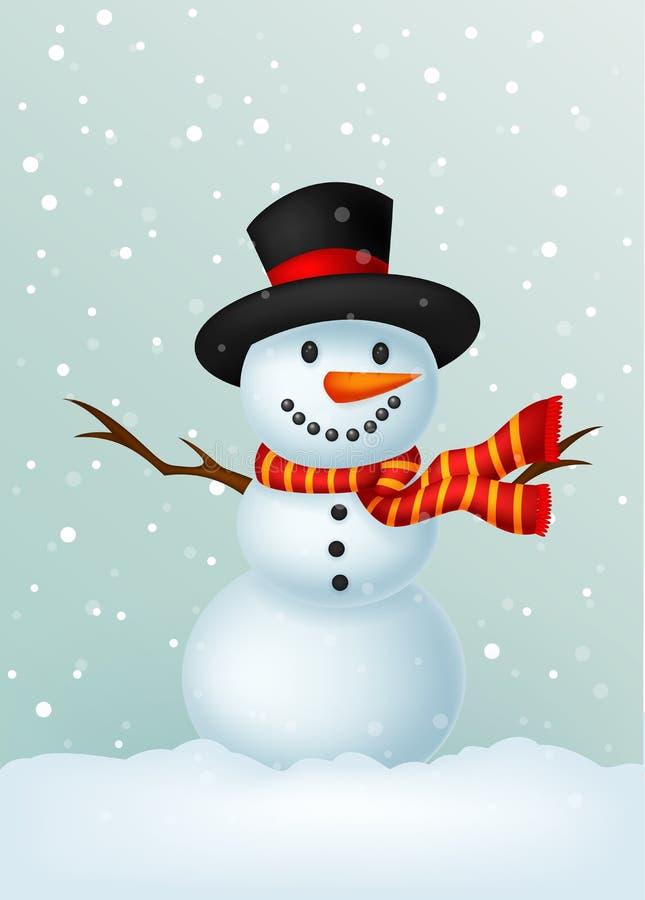 穿帽子和红色围巾的圣诞节雪人 向量例证