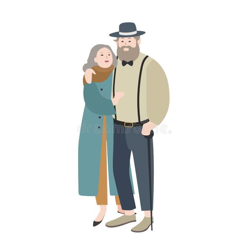穿戴了温暖地拥抱的老男人和妇女夫妇在典雅的衣裳 被隔绝的可爱的漫画人物 皇族释放例证