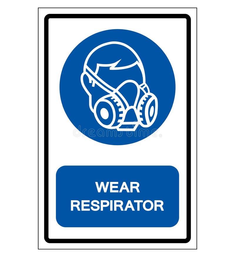 穿戴人工呼吸机标志标志,传染媒介例证,隔绝在白色背景标签 EPS10 库存例证