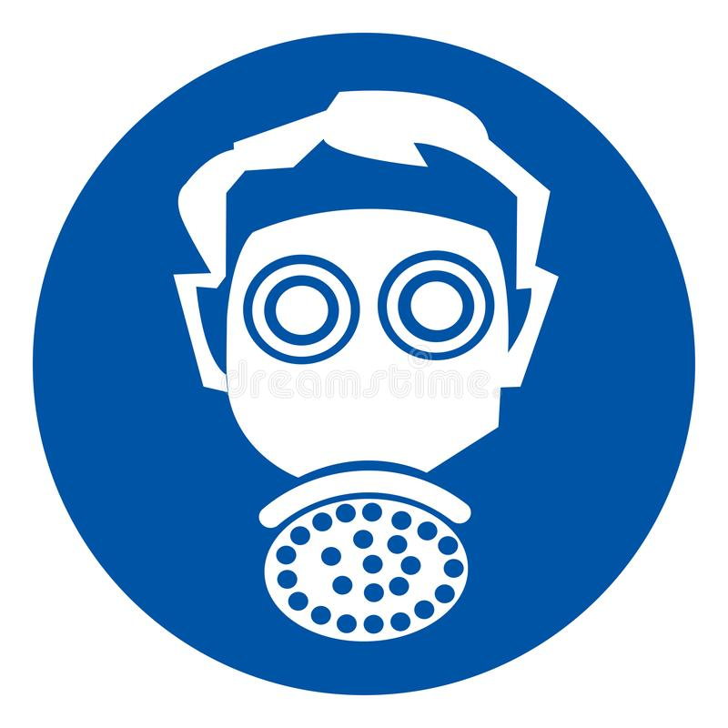 穿戴人工呼吸机标志标志,传染媒介例证,隔绝在白色背景标签 EPS10 向量例证