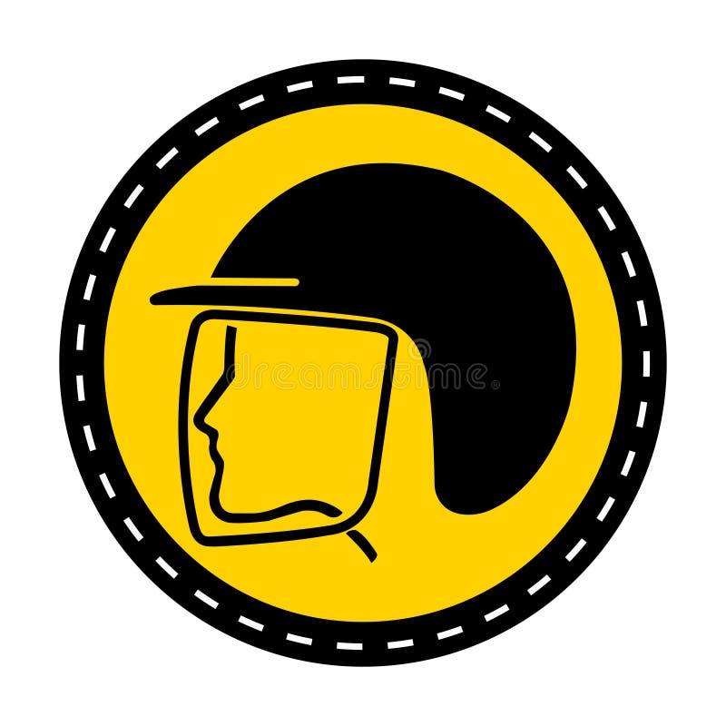 穿戴安全帽在白色背景,传染媒介例证的标志孤立 向量例证