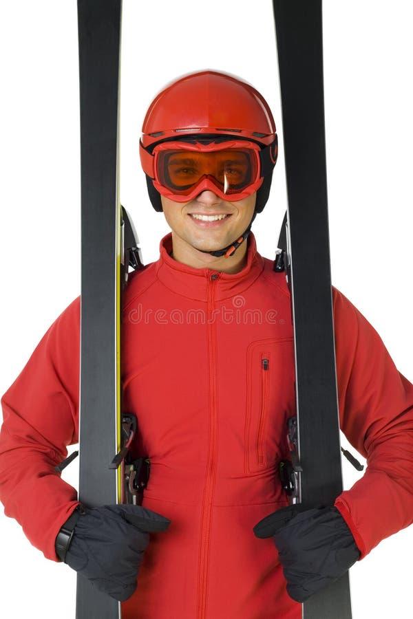 穿戴的夹克跳接器红色滑雪 库存照片