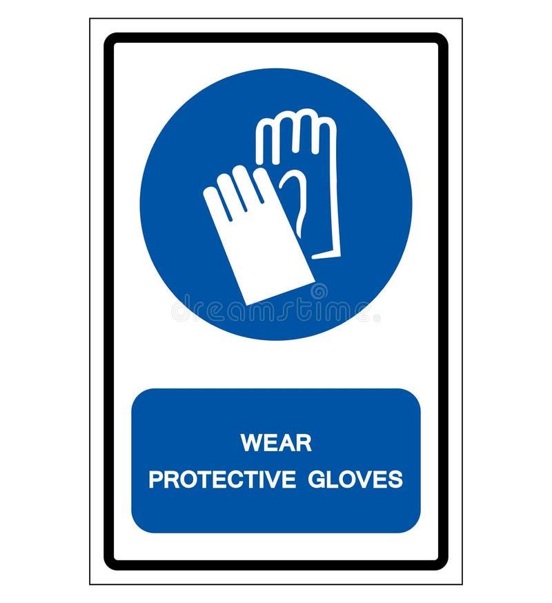 穿戴防护手套标志标志,传染媒介例证,在白色背景标签的孤立 EPS10 库存例证