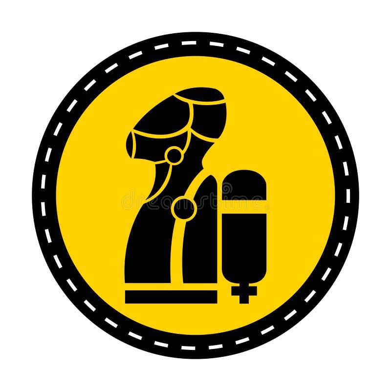 穿戴SCBA (;独立性的呼吸的Apparatus);在白色背景,传染媒介例证的标志孤立 库存例证