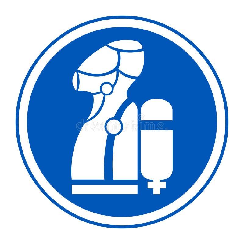穿戴SCBA (;独立性的呼吸的Apparatus);在白色背景,传染媒介例证EPS的标志孤立 10 向量例证