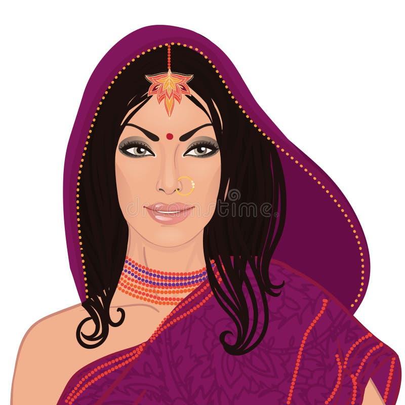 穿新娘服装的bautiful印地安妇女画象  皇族释放例证