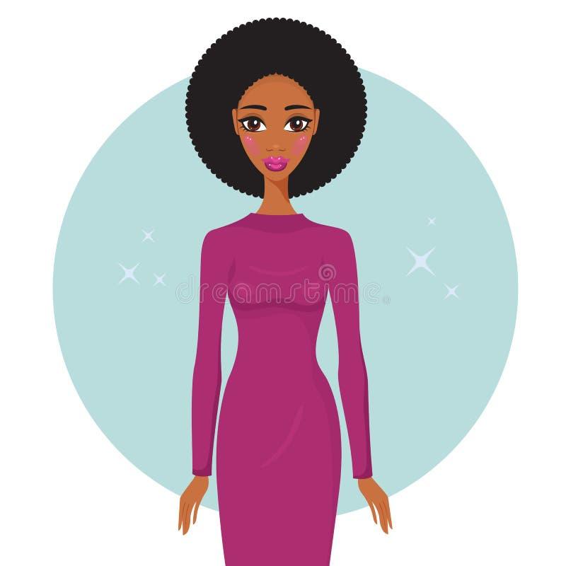 穿时髦礼服的时髦的年轻非裔美国人的妇女看起来华美 库存例证