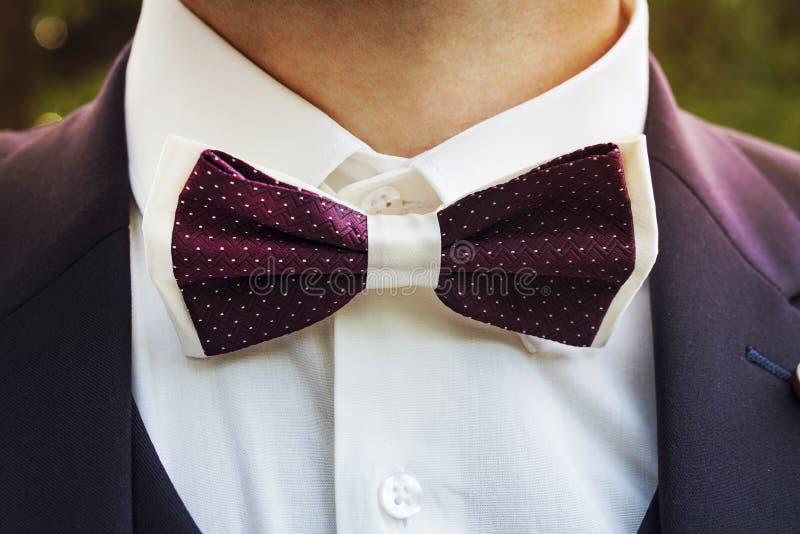 穿有蝶形领结的一个年轻人的特写镜头一套无尾礼服 与一个英俊的蝶形领结的一套男性衣服正式欢乐穿戴的 新郎的隋 库存照片
