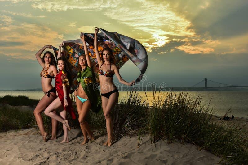 穿比基尼泳装的小组四个模型摆在日落海滩 图库摄影