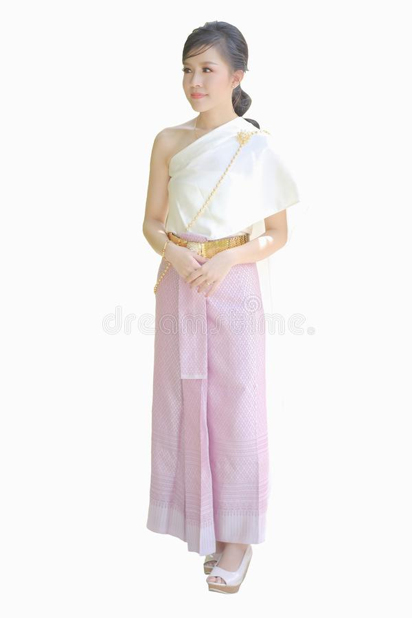 穿泰国衣裳的泰国妇女隔绝在白色背景 免版税库存图片