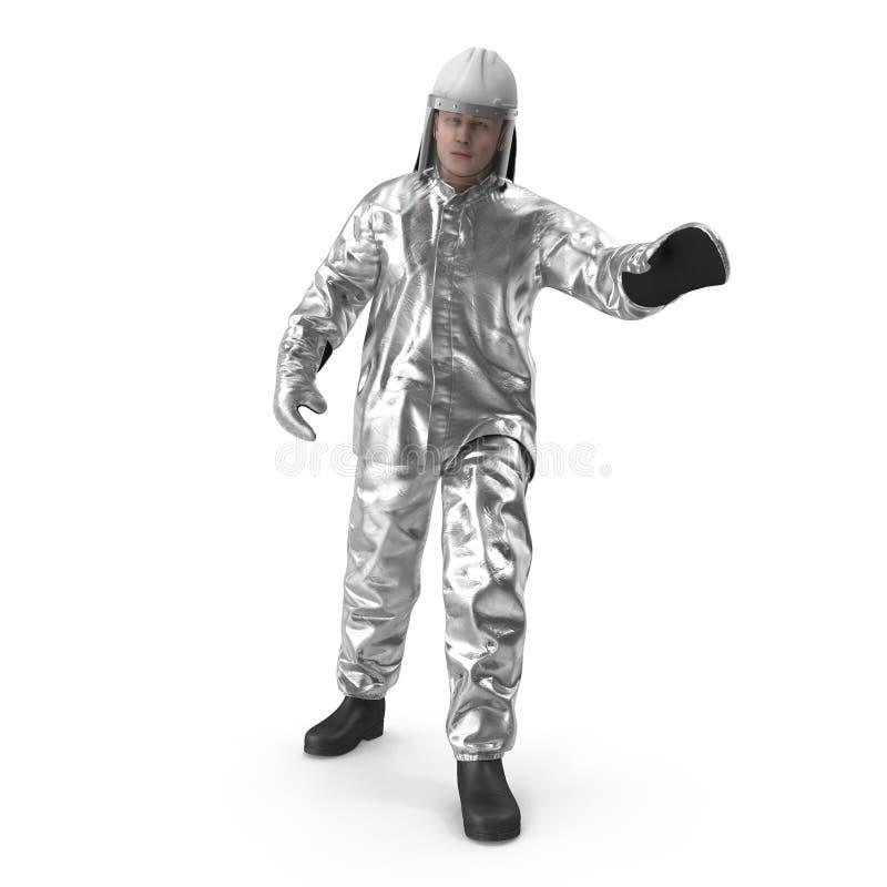 穿特别危险衣物的消防队员隔绝了3D例证 皇族释放例证