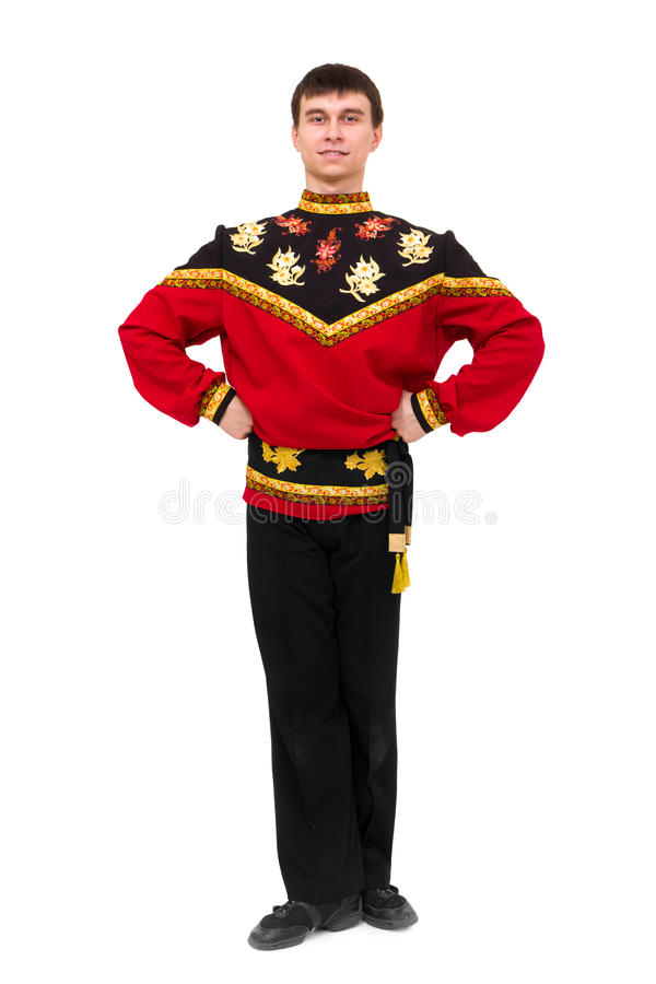 穿着一套民间俄国服装的新舞蹈演员 免版税库存照片