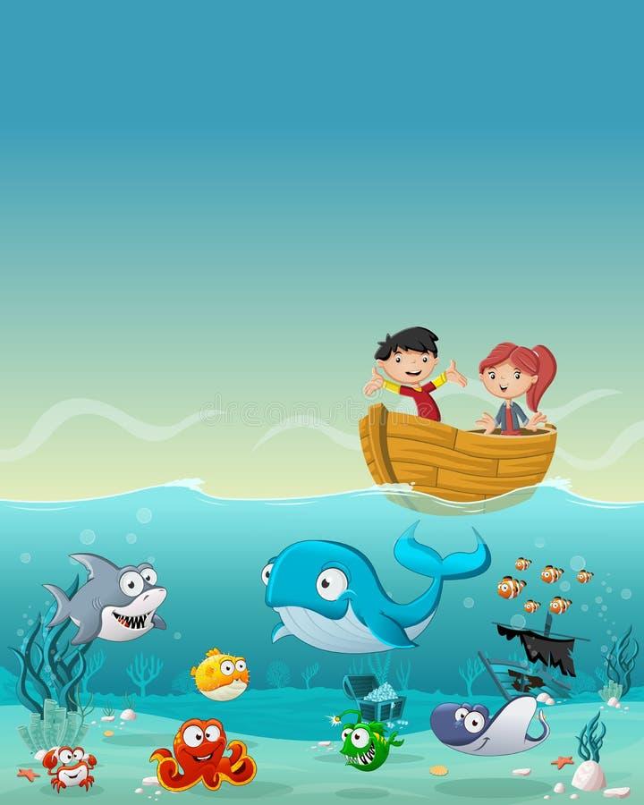 穿着佩戴水肺的潜水衣服和游泳与鱼的孩子在海下 库存例证