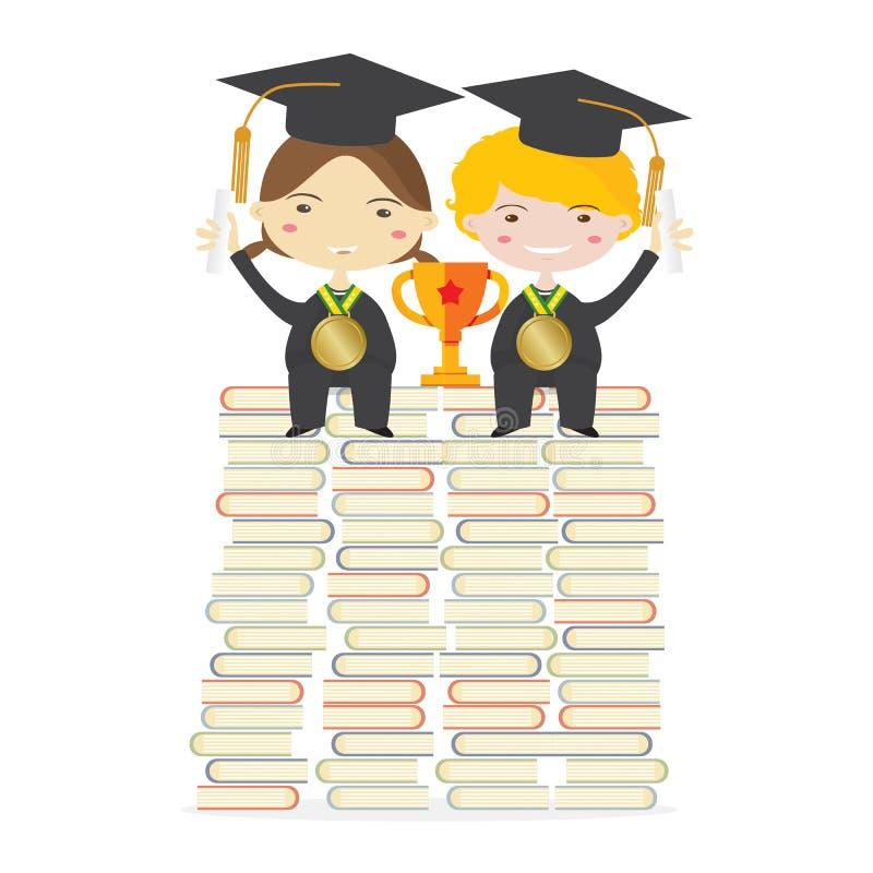 穿着毕业衣服的孩子与金黄战利品坐巨大的书架代表对成功教育 皇族释放例证