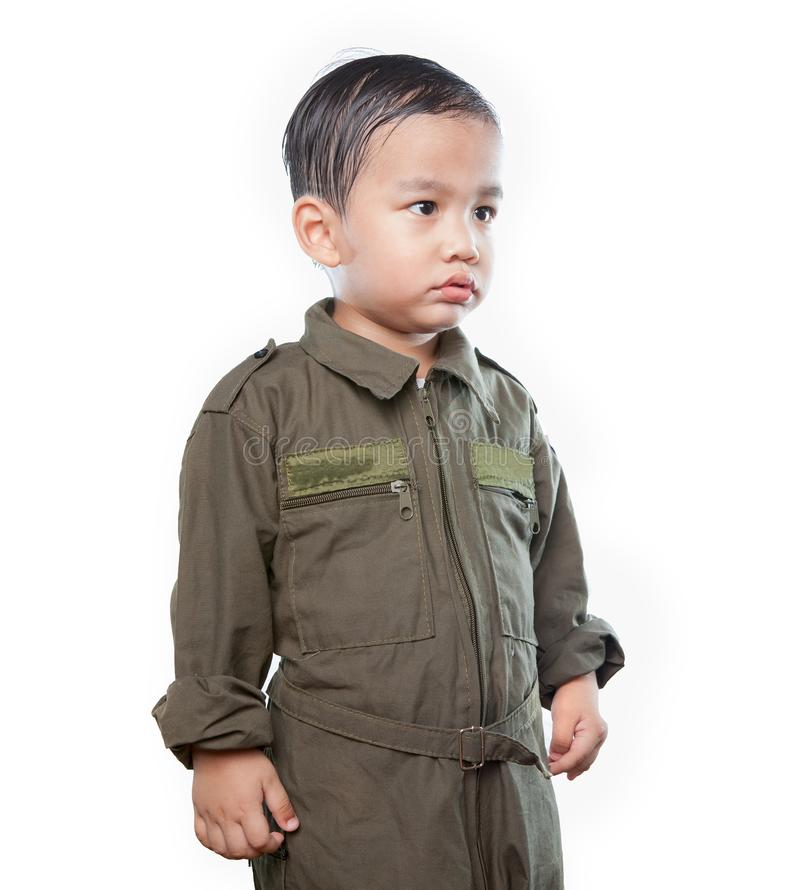 穿着空军试验衣服的亚裔孩子画象被隔绝 库存图片