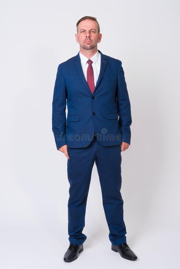 穿着蓝色衣服的白肤金发的商人充分的身体射击 库存图片