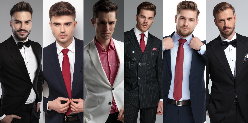 穿着衣服的六不同典雅的年轻人的拼贴画图象 库存图片