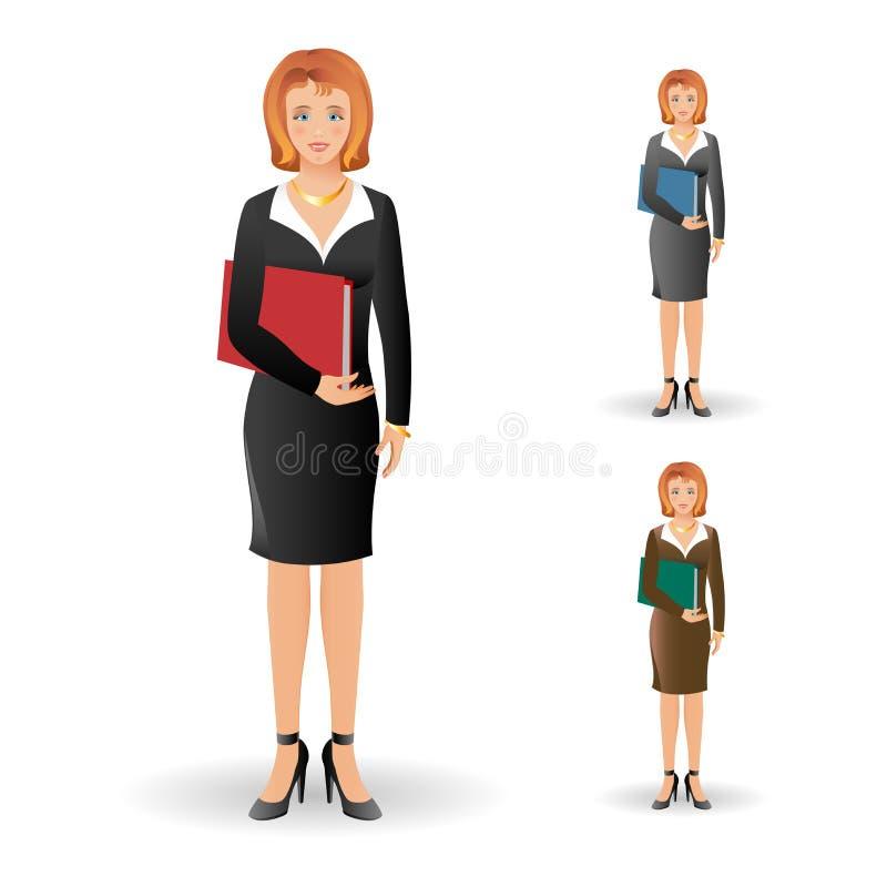 穿着衣服的愉快的微笑的女商人画象,微笑 库存例证
