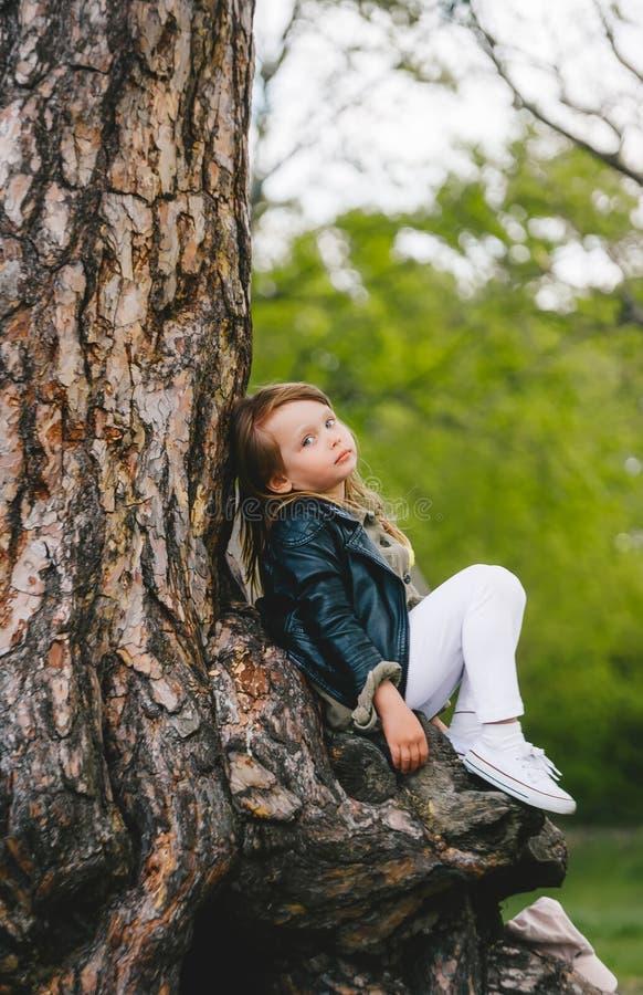 穿着黑色皮夹克的可爱的幼童女孩坐在老树下 儿童的弹簧水平照片 库存图片