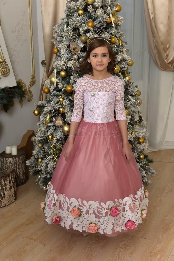 穿美丽的礼服的女孩站立近的圣诞树 库存照片