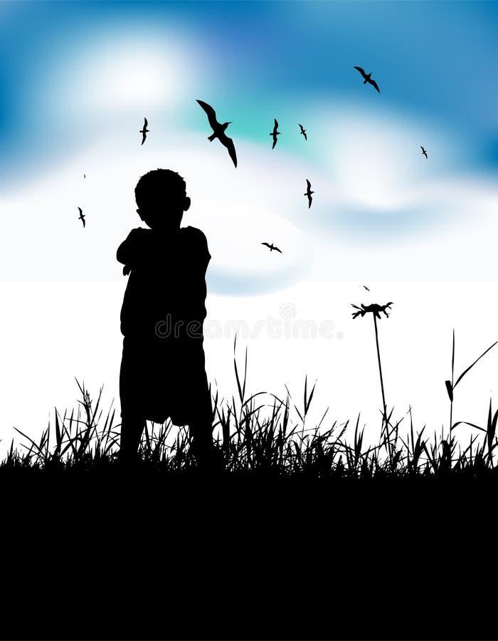穿蓝衣的男孩域一点剪影天空夏天 皇族释放例证