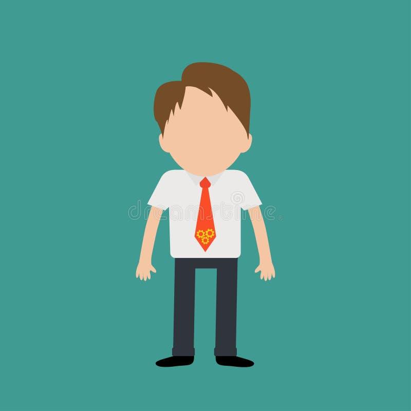 穿衬衣,与轮子的脖子领带的商人 想法概念 平的设计 向量例证