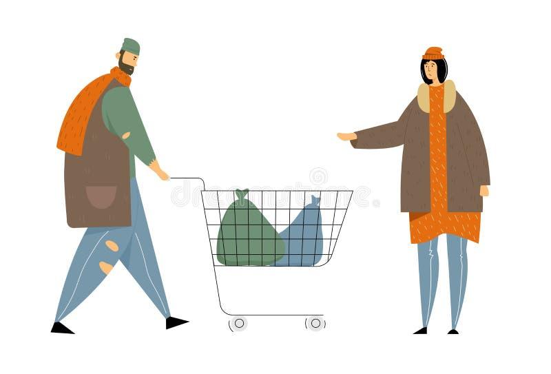穿褴褛衣物的男性和女性叫化子字符拾起在街道上的垃圾到手推车,无家可归的成人 皇族释放例证