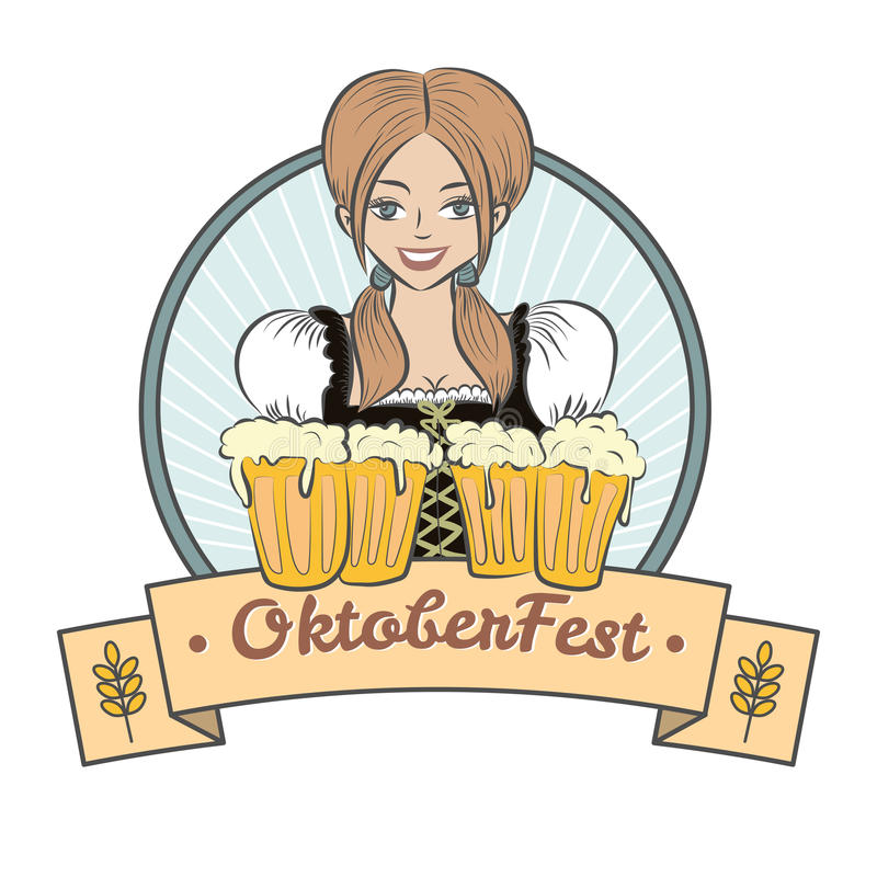 穿巴法力亚服装的美丽的妇女拿着杯子啤酒 向量例证