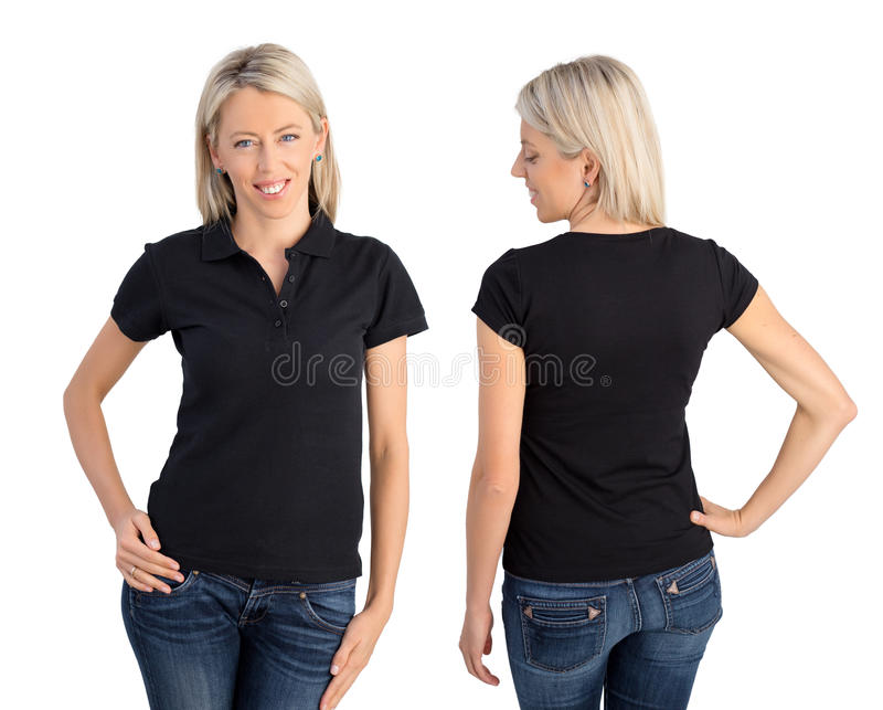 穿黑球衣的妇女 免版税库存图片